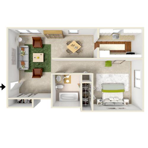 poplar gardens one bedrrom floor plan style A