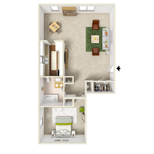 poplar gardens one bedrrom floor plan style B